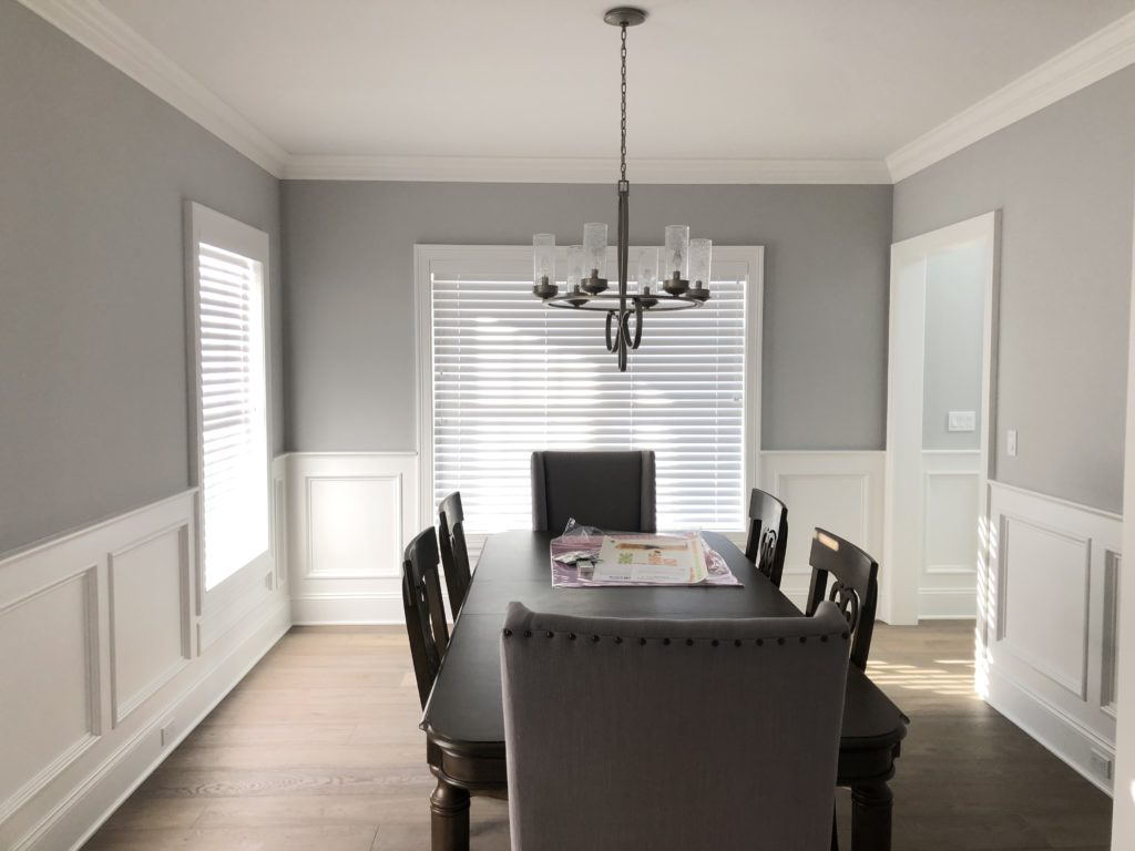 interior painting contractor grey dining room