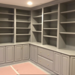 grey built in painting kitchen cabinets after