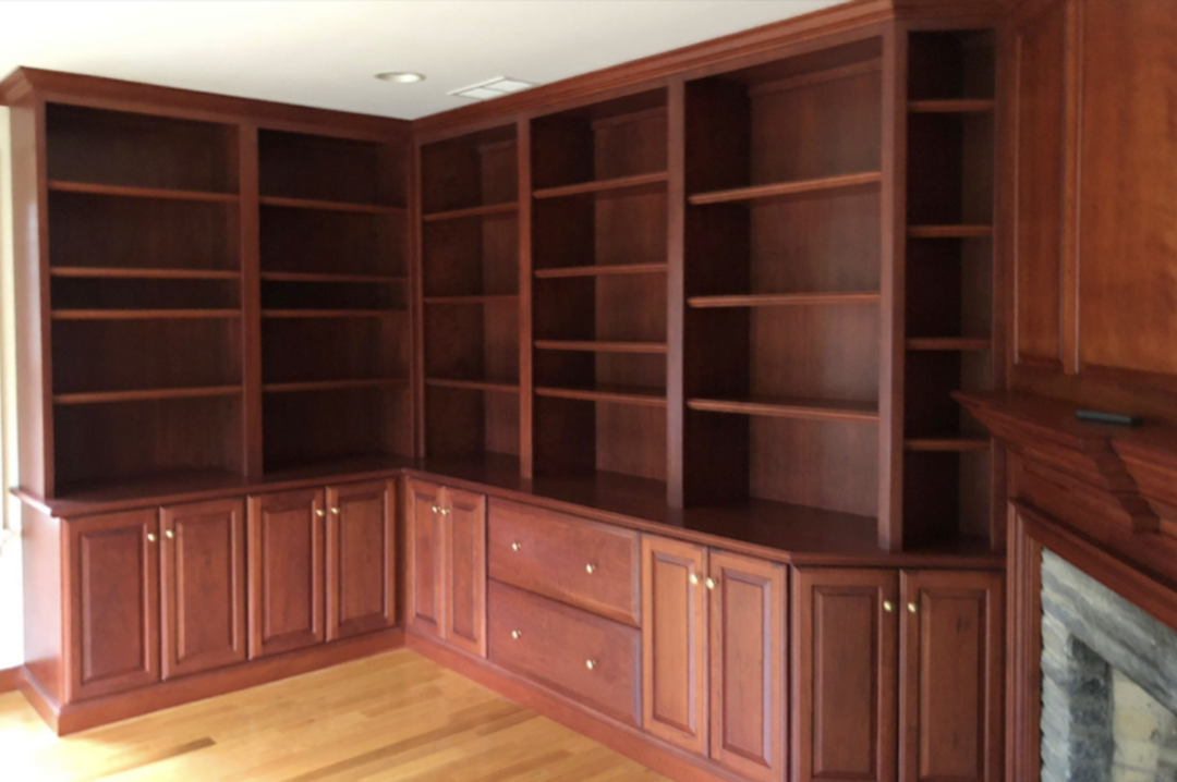 cherry wood built in painting kitchen cabinets before